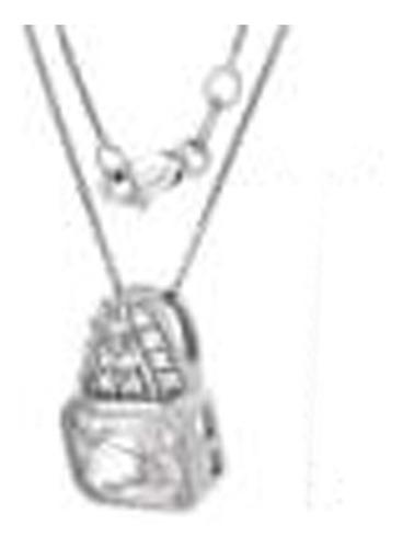 467- cadena y dije plata925 rodinada con cubic blanco ¡lindo