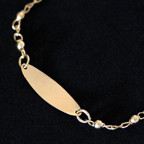 4690 - pulseira folheado a ouro infantil chapeada com bolin