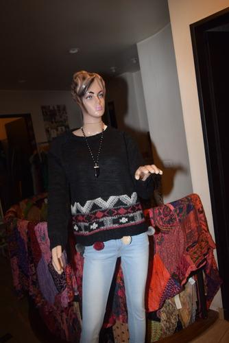 47 street sweater de lana con guarda y pompones