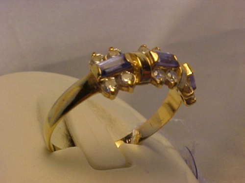 #479a - anel em ouro 18k com zirconias e topazios azuis