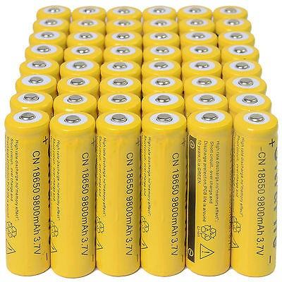 48pcs 18650 3.7v 9800mah amarillo li-ion batería recargable