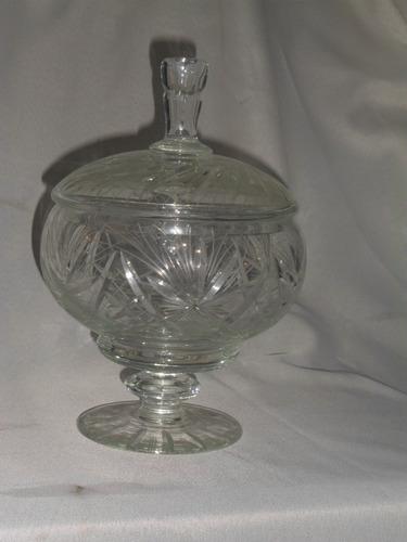 491- potiche caramelera centro de mesa cristal checoslovaco