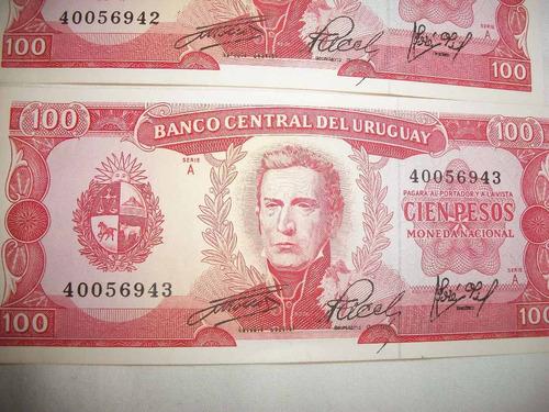 4billetes uruguayos antiguos correlativos de $100 lote $550