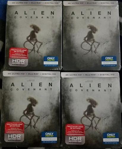 4k alien covenant steelbook + blu ray somos cine 4k mania