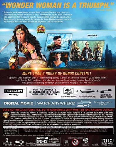 4k ultra hd + blu-ray wonder woman / mujer maravilla (2017)
