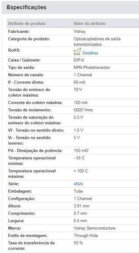 4n25 ( kit c/ 20 ) ci integrado vishay dip-6 optoacoplador