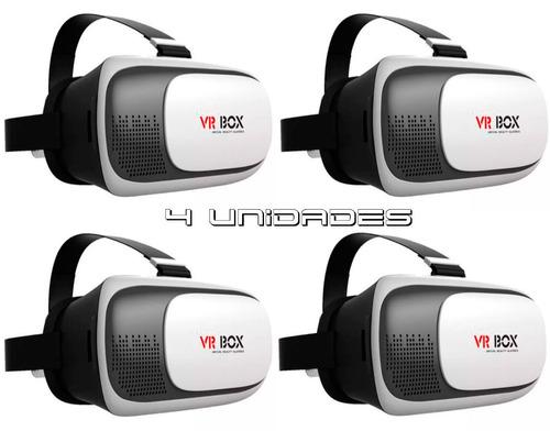4pç oculos realidade virtual 3d p/ smartphone celular vr-box