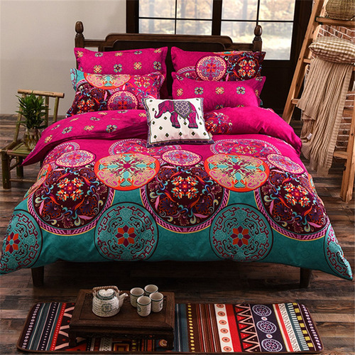 4pcs oriental mandala polyester single double queen size bed