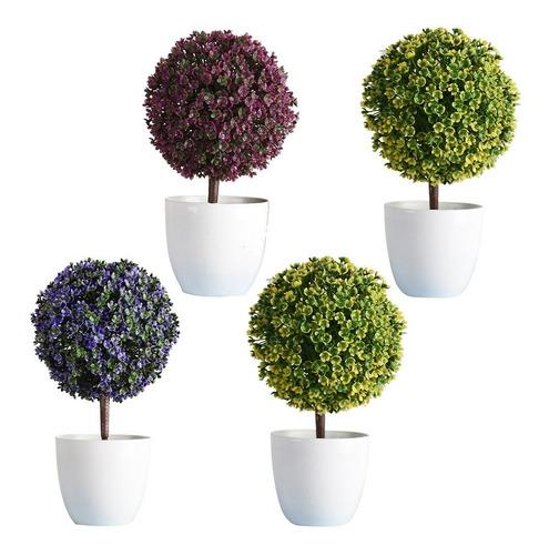 4pcs planta artificial de plástico con maceta bonsái flor