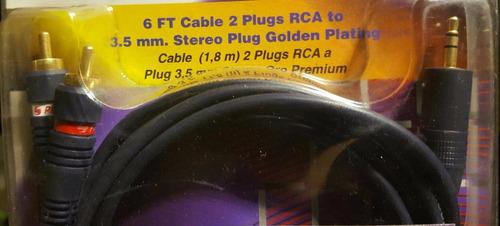 4pk cable rca a mini plug 3.5 ipad celular etc chapa oro