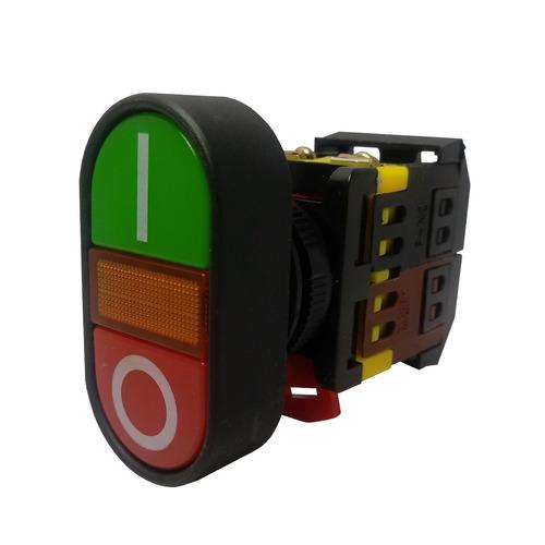 4un botão duplo apb22-220v iluminado arredondado s/ ressalto
