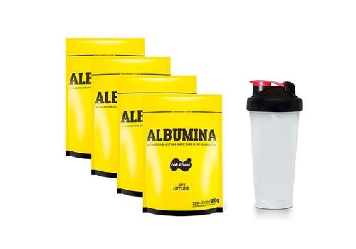 4x albumina 500g - naturovos (natural) + coqueteleira