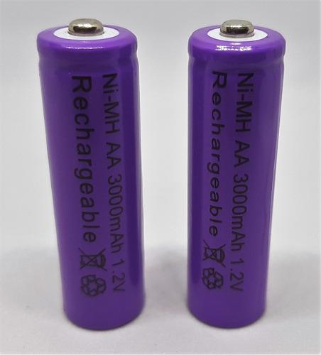 4x batería recargable aa nimh 3000 mha blister con 4 moradas