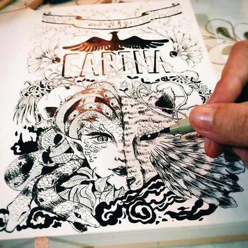4x caneta cartoon designer ochre 13 ponta dupla marvy