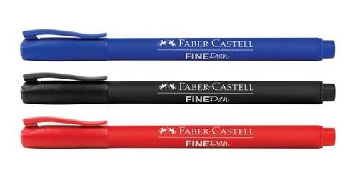 4x caneta ponta fina 0.4 porosa fine pen faber castell verme