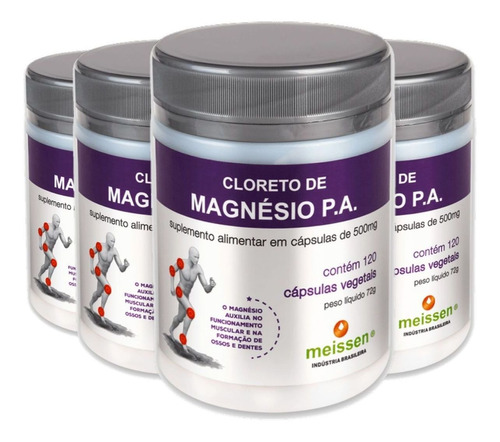 4x cloreto de magnésio pa 120 cápsulas 500mg dr lair