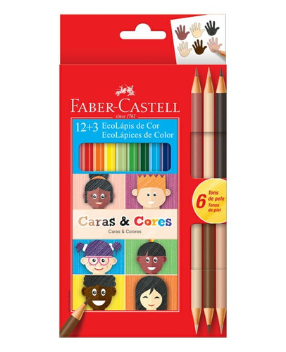 4x kit lapis cor ecolapis 12 + 3 caras e cores faber castell