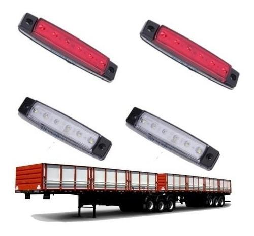 4x lanterna 6 led 12 v caminhão carretas onibus vans teto nf