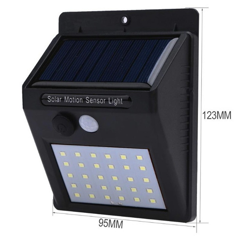 4x luminária solar parede 30 led sensor movimento externa
