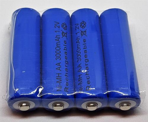 4x pila bateria recargable aa de 3000mha azul la mejor