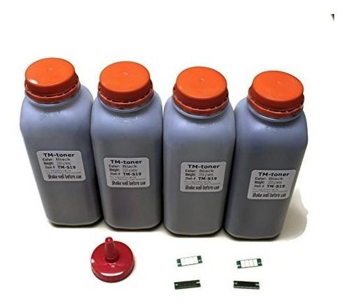 4x toner refill kit con chips para oki okidata b411, b431,