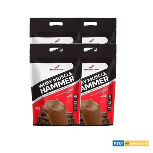 4x whey muscle hammer 1,8kg sabores body action