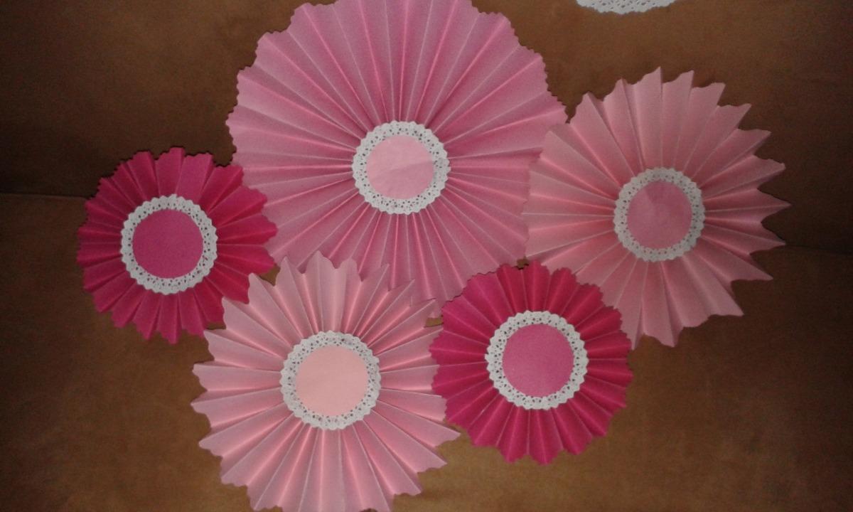5 abanico rosetas para bodas cumple 15 a os baby shower for Decoracion con abanicos