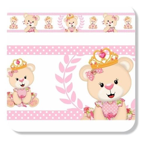 5 adesivos parede faixa infantil ursas princesas rosa linda