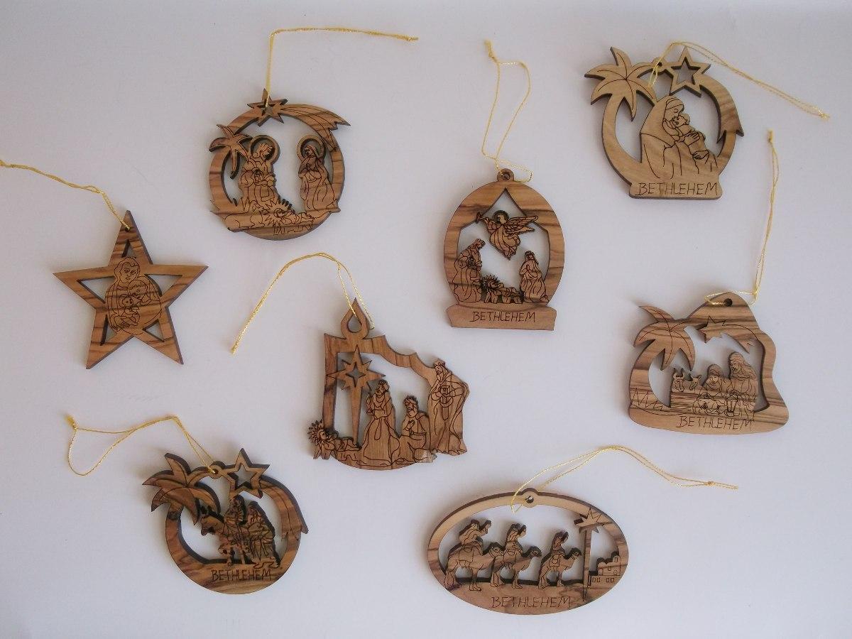 5 adornos navidad madera olivo tierra santa israel en mercado libre - Adornos navidenos de madera ...