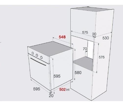 5 aislantes p/horno empotrado 53x58cm s/borde ni adh