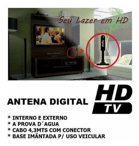 5 antenas interna externa digital hd veicular uhf hdt 360º