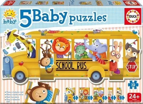 5 baby puzzles school bus  educa 18026