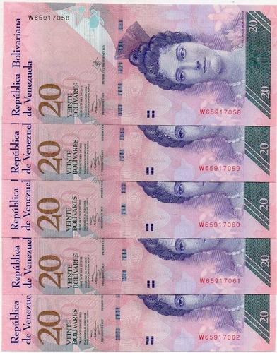 5 billetes 20 bolivares 2013 consecutivos
