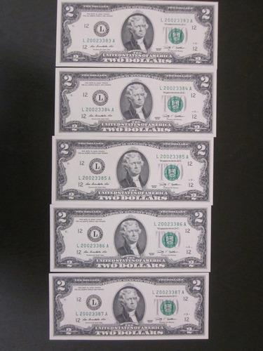 5 billetes de 2 dos dolares unc series consecutivas 2013