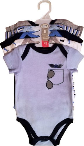 5 bodies aviador bebé - luvable friends - 0-3/3-6m - algodón