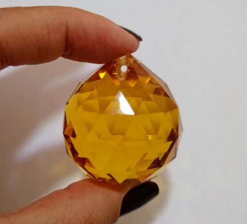 5 bola esfera de cristal k9 cor âmbar 40mm lustres feng shui