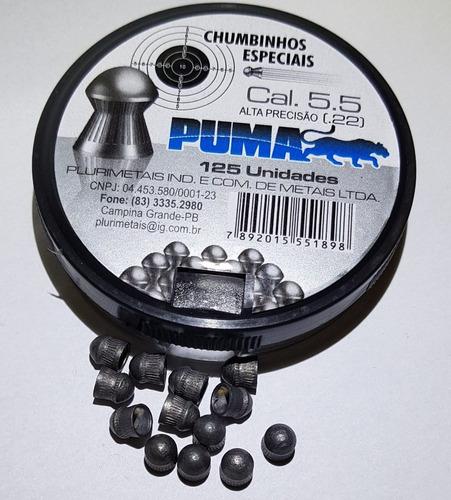 5 caixas chumbinho 5.5 diabolô puma lançamento c/ 125 und.