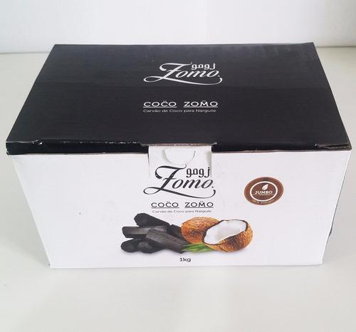 5 caixas de carvão zomo coco jumbo 1kg p/ narguile
