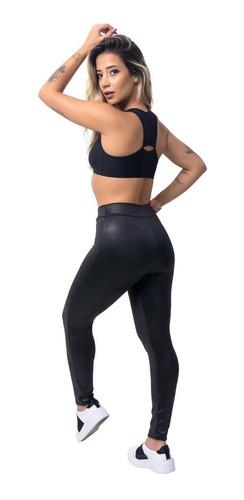 5 calças legging cirre couro brilho atacado roupa feminina