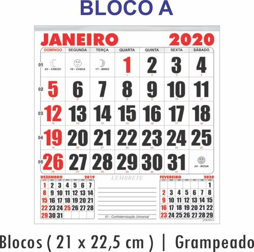 d6a6fee45 5 Calendários 2020 Folhinha Comercial Números Grandes E Luas - R  39 ...