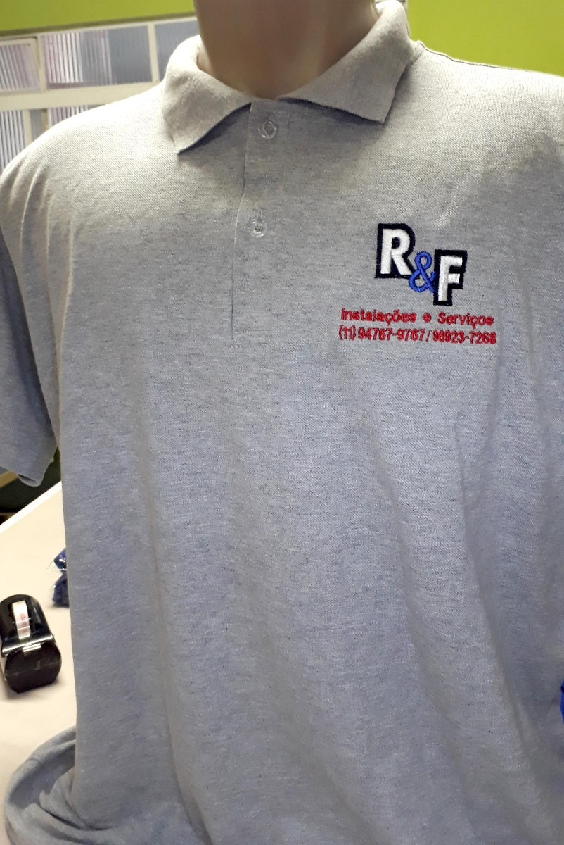 01179a820b 5 camisa polo uniforme bordado personalizada 1 frente 1manga. Carregando  zoom.