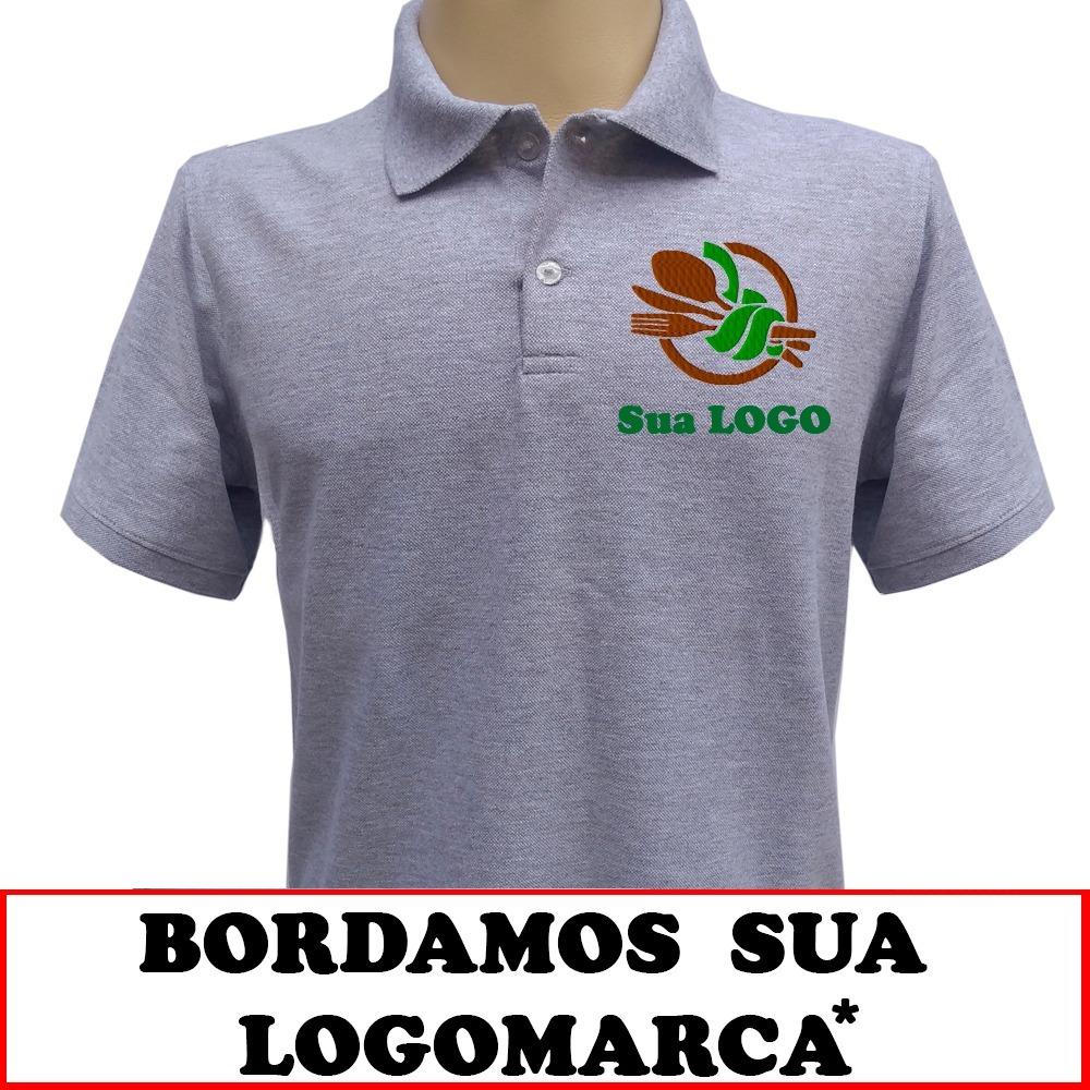 5 camisas polo bordada com sua logomarca para uniforme. Carregando zoom. 2d226bf83b67b