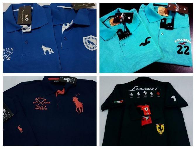 5 Camisas Polo Masculina Camisetas Blusas Marcas Famosas - R  149 a41589fbb2698