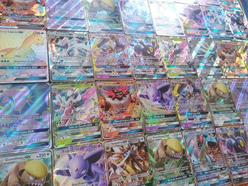 5 cartas pokémon gx + 100 cartas sem repetidas! originais