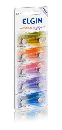 5 cartelas c/10 un bateria alcalina lr54, lr44 e lr41 elgin