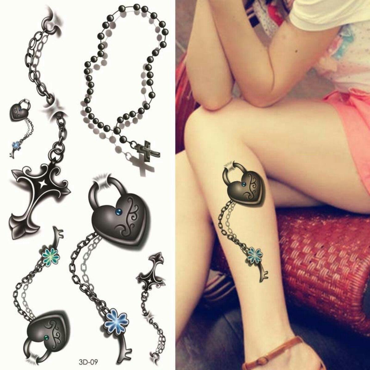 5 Cartelas Tatuagem Temporaria 3d Terço Corrente Coração 3d