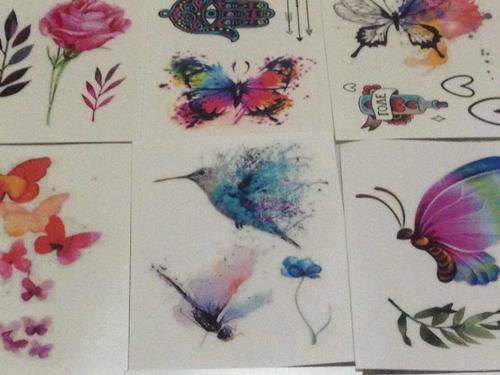 5 cartelas tatuagem temporária feminina sortida frete gratis