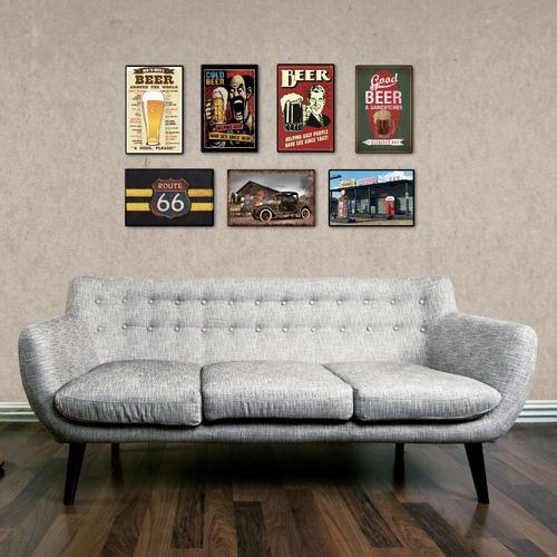 5 carteles decorativos cuadros chapa de madera (5 uds) 19x29