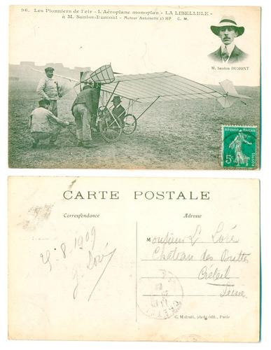 5 cartões postais santos dumont circulados década 1900/10