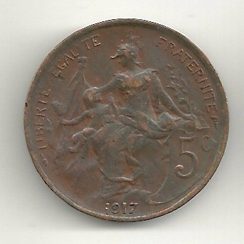 5 centimes 1917 - frança - cobre